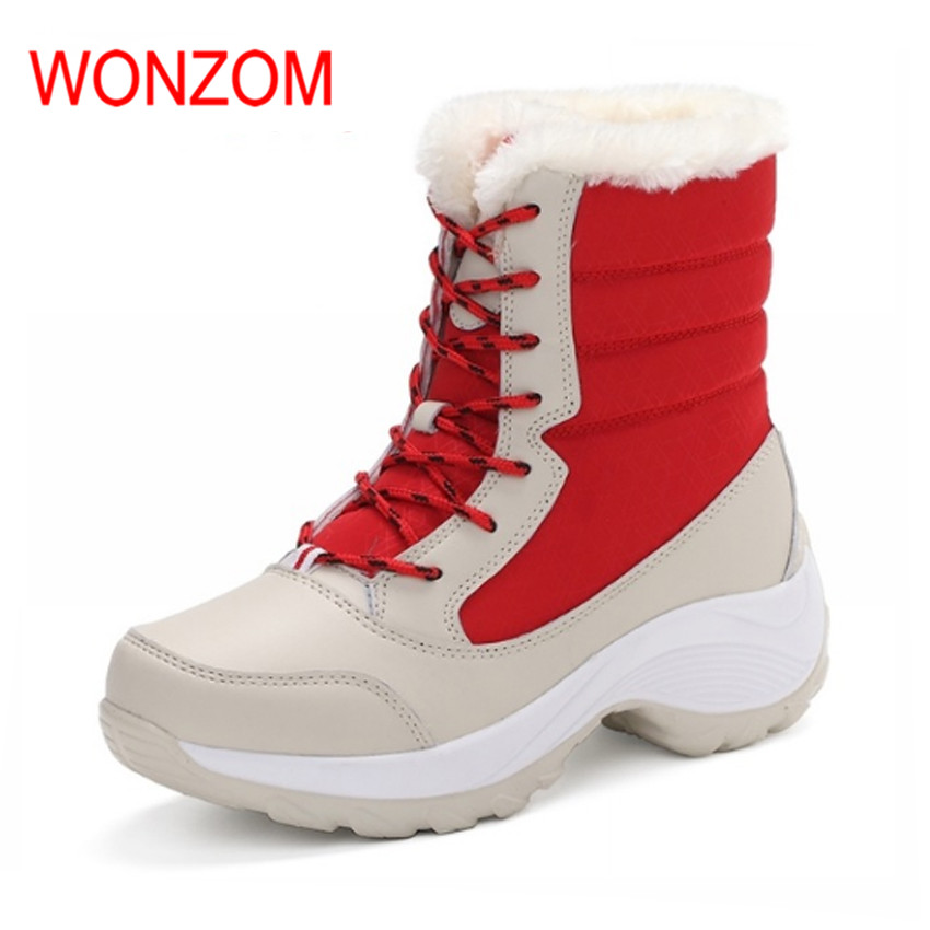 WONZOM Fashion Female Warm Snow Shoes Waterproof High Quality Women Antiskid Boots 2017 Winter Mid-Calf Platform Boots New Gift wellies polka dot breathable belt single shoes wading mid calf fashion gum canister rain womens boots women colorful antiskid