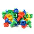 500 g/saco Crianças Educacional Colorido Porcas dos Parafusos de Plástico Combinando Blocos Brinquedos 50 pçs/set Crianças Dedo Exercícios de Jogo Presentes Do Bebê