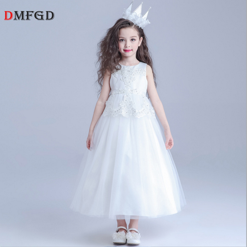 Fashion Lace embroidery flowers dress for girls Children clothes princess long evening dress party ceremony dance dress lace high low swing evening party dress