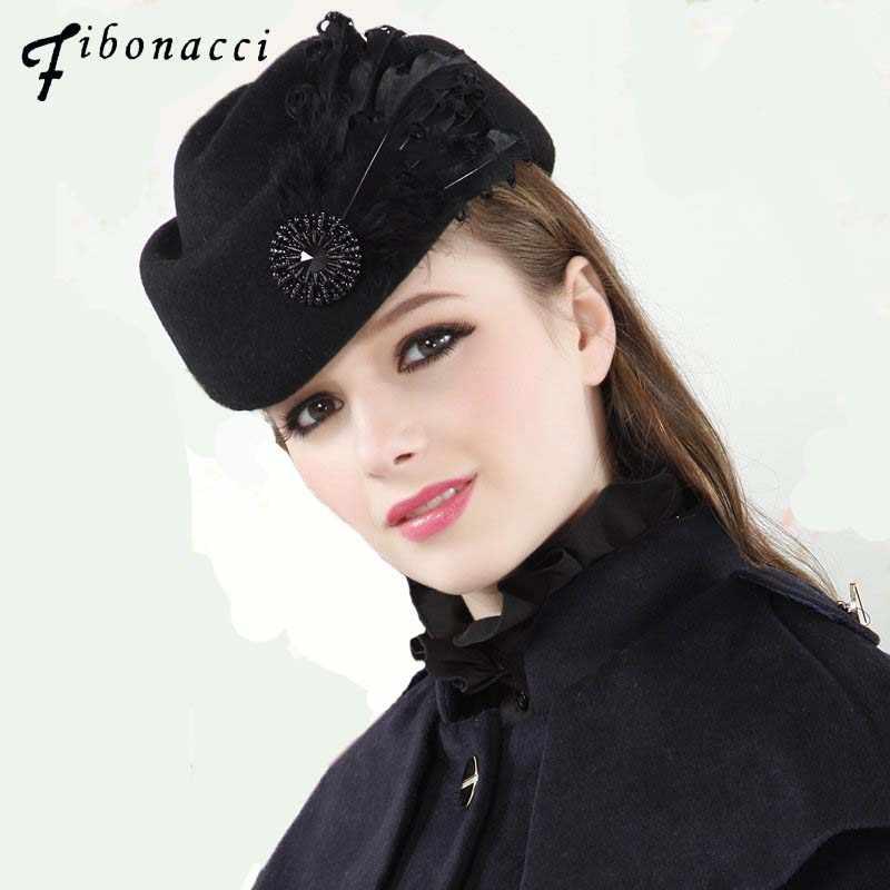 38a8f6029f7 Fashion Vintage Wool Felt Women Beret Feathers Stewardess Small Fedora Hats