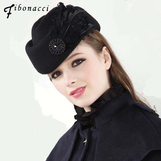 Fibonacci Fedora moda Vintage cappello di feltro di lana donna elegante berretto piume hostess cappelli Fedora chiesa cappelli formali da donna