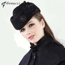 Fibonacci Fedoras moda Vintage yün keçe şapka kadın zarif bere tüyler hostes fötr şapkalar kilise bayanlar resmi kapaklar
