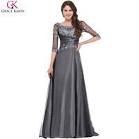 Prom Dresses Grace Karin Dark Grey Square Neck Half Sleeve Long Lace Prom Dresses Mother Of