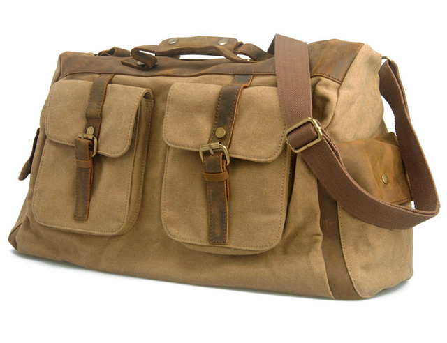a5e3d3a853 Vintage military canvas leather men Shoulder bag Canvas messenger bag Men Tote  bag big Travel Bag sports large free shipping
