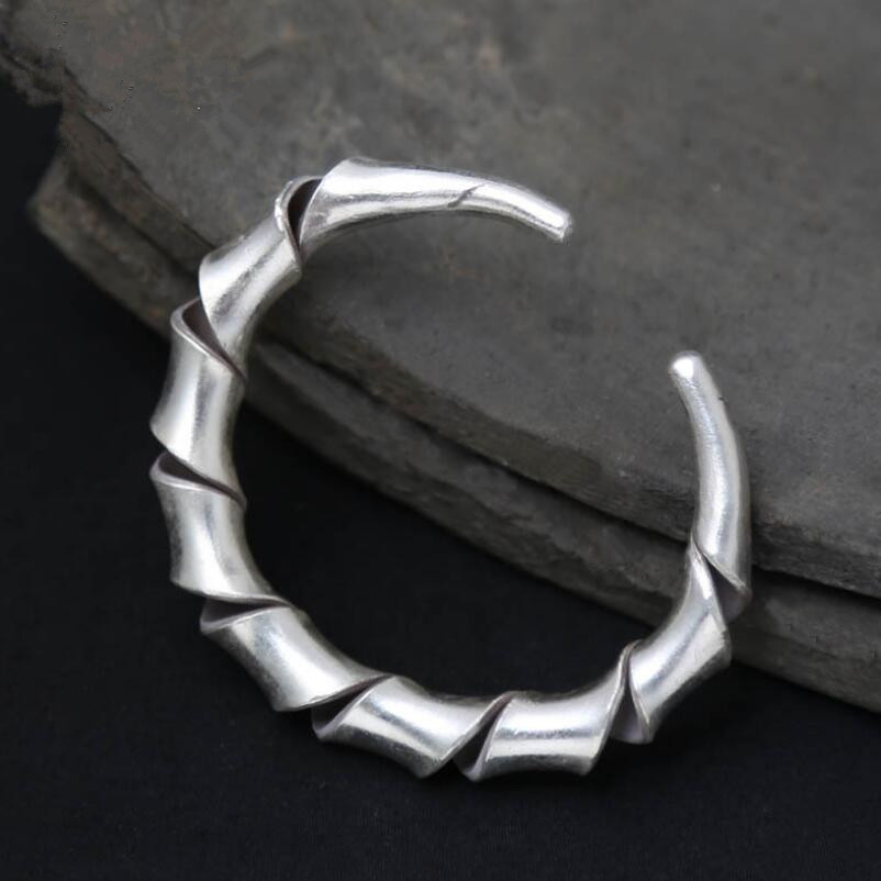 Handmade s925 silver spiral ethnic style simple opening bangle (SYF)Handmade s925 silver spiral ethnic style simple opening bangle (SYF)