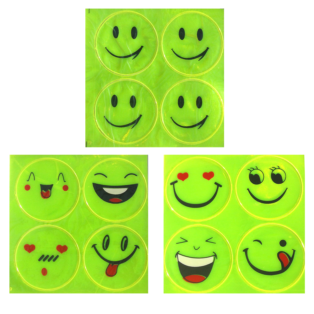 Dewtreetali Reflective Sticker Small Smile Face For Kids School Bag Reflective Motorcycle Scooter For Visible Safety 1 Sheet