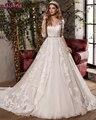 2017 New Design Sexy V-Neck Elegant Bow Princess Wedding Dress Gorgeous Appliques Vestido De Noiva Half Sleeve Hot Sale Najowpjg