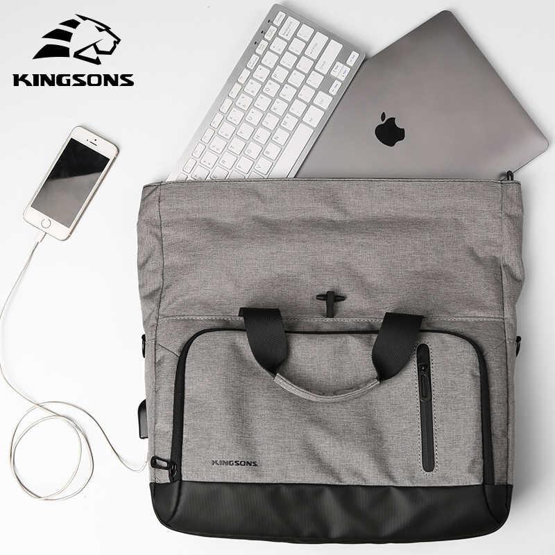 KINGSONS الخارجية USB شحن حقيبة يد للحاسوب المحمول للسفر كبيرة قدرة الرجال والنساء ل 14 بوصة كم دفتر حقيبة 2017