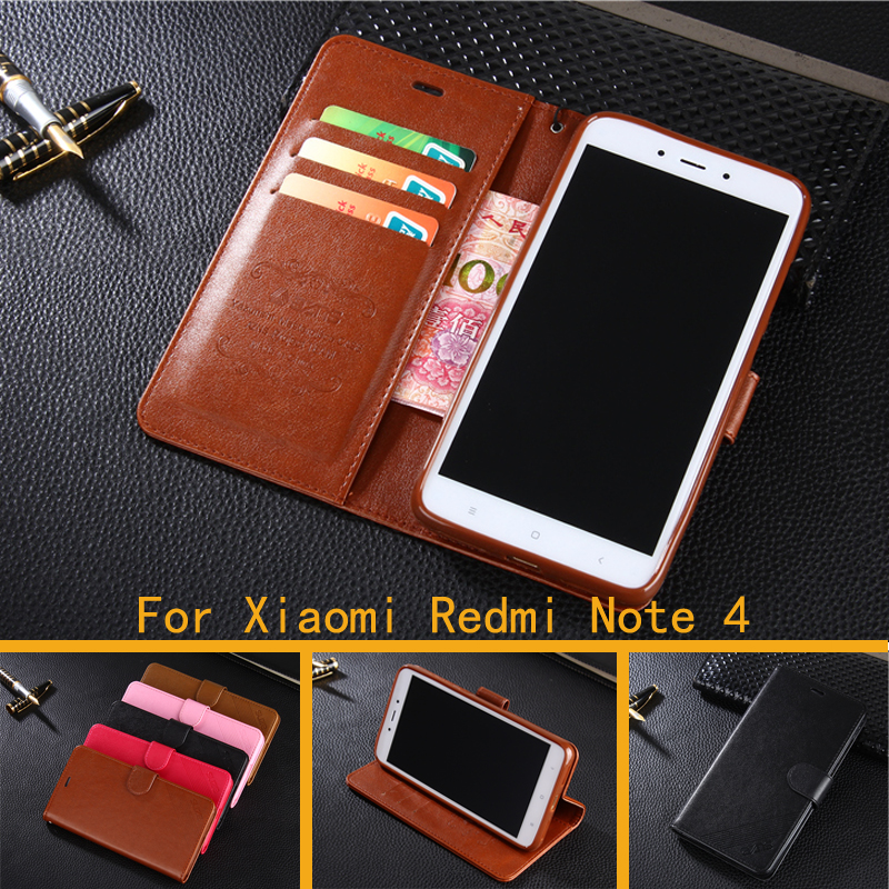 Luxury Wallet Case For Xiaomi Redmi Note 4 Flip Cover PU Leather Stand Phone Bags Cases
