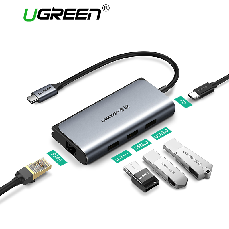 Ugreen USB C Ethernet USB-C to RJ45 Lan Adapter for MacBook Pro Samsung Galaxy S9 Oneplus 6 Type-C Network Card USB Ethernet