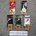 P Carta de Rayas Calcetines de Patinetas palacio Marea Hip Hop Mujeres de la Marca de Calcetines de Los Hombres 5 Colores