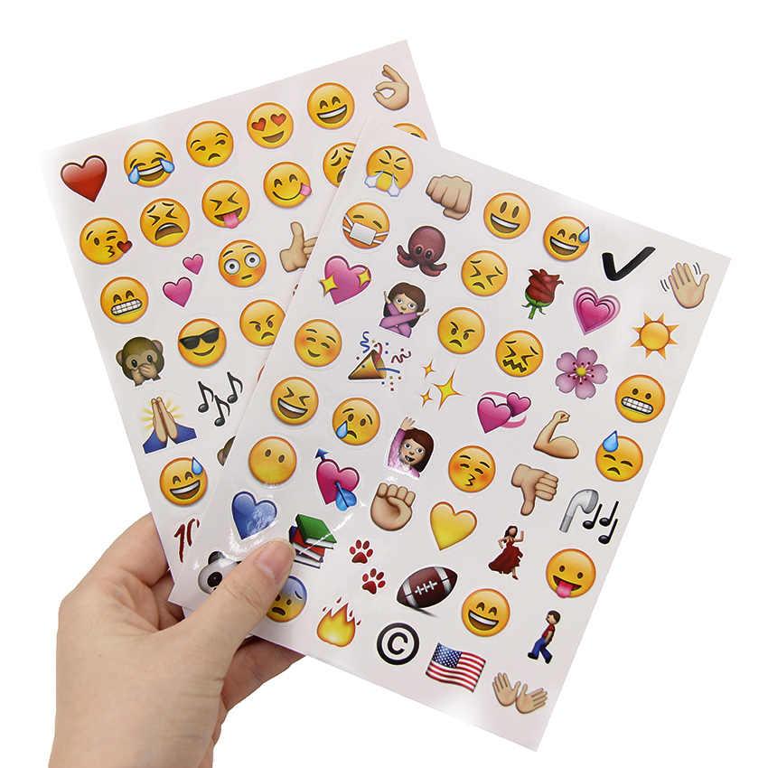 4 hojas/Set pegatinas caliente 192 Cute emoji troquelado sonrisa cara para Notebook mensaje Twitter divertido creativo adhesivo de papelería