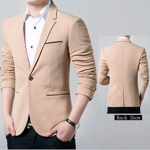 14612712100 Quality Assurance Brand Casual Men Suits Plus Size One Button Wedding Party  Blazers Masculino Black Khaki Navy Veste Homme