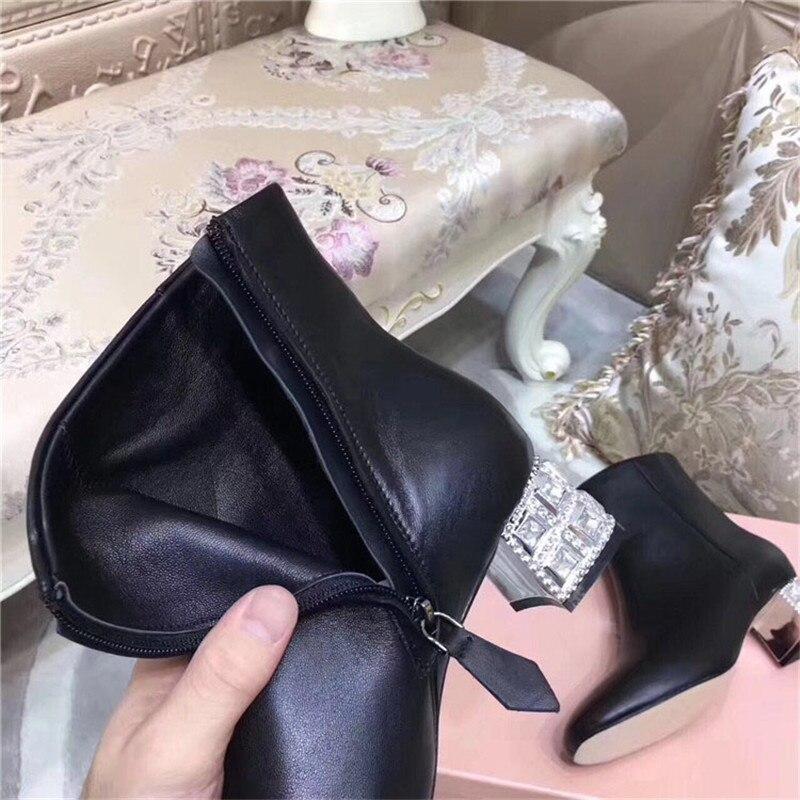 Bling Date Talon Bout Noir Cuir Femme Femmes Diamant Noir Strass Cheville Courtes gris En Véritable 2017 Rond Bottes 8nkXOPw0