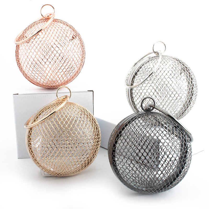 Cage Handbag Chain Clutch Crossbody-Bags Mini Bag Evening-Bag Party-Shoulder Metal Circular title=