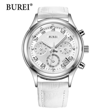 2016 Real Burei Week Display Complete Calendar Women Watch Multifunction Female Watches Genuine Leather Strap Dial Wristwatches
