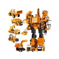 Transformação Robô Carro de Metal de Liga de Engenharia de Construção Do Veículo Caminhão Deformação Montagem Brinquedo 2 em 1 Robô Criança Brinquedos Presentes