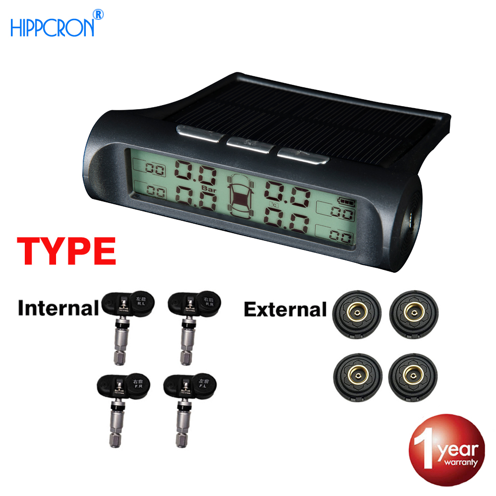 Hippcron Car Tire Pressure Alarm Monitor System TPMS  Backlight Digital Display Solar Energy Power USB Charger