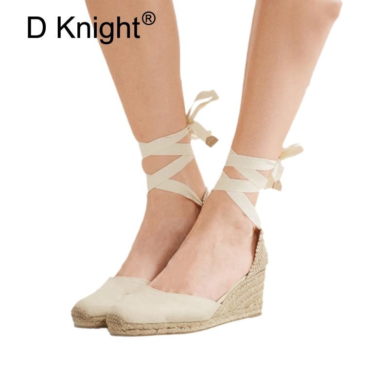 37ed2cc37d869 Lace up Straw Braid Lady Fisherman Sandals Shoes Ankle Strap Women  Espadrilles Wedge Sandals 2018 Summer Canvas Platform Wedges