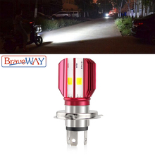 BraveWay 1PCS Motorcycle H4 LED Headlight Bulb Scooter Lamp 12V LED Bulb for Motorbike Motorcycle ATV Moto Bike newest h4 motorcycle headlight hi low bulb all in one lamp 12v 2 sides led motorcycle headlamp with blue led on top