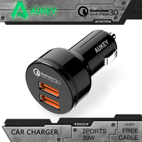 Aukey New Arrival Universal Black Quick Charger 3 0 2 Ports Support QC3 0 36W USB