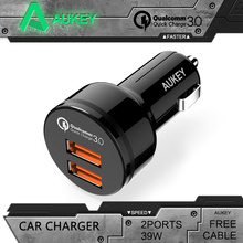 AUKEY Universal Car Charger for Qualcomm Quick Charge 3.0 2 Port Support QC3.0 36W USB Car Charger For Samgsung Xiaomi iPhone LG(China)