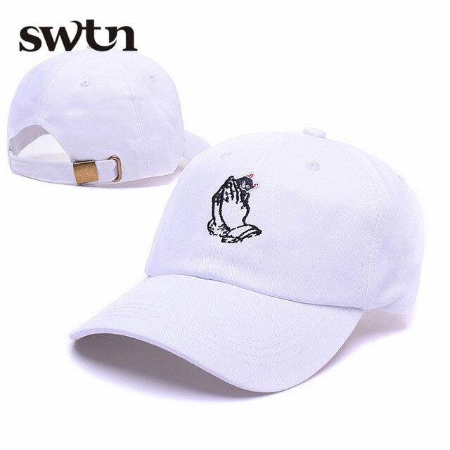 New Fashion Palm Pray Embroidery Ripndip Peaked 6 God Dad Hat Cotton Rose  Curved Brim Snapback Caps gorras blancas bosco sport d04117e23ed