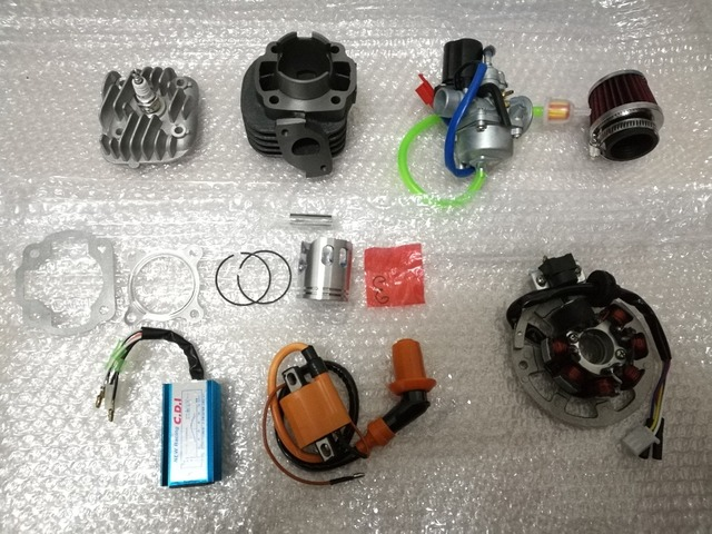 YAMAH AXIS BREEZE JOG NEOS VINO WHY Y50 40mm 50cc Two Stroke Kit with 10mm Wrist Pin and CDI, Coil Carburetor Coil Set.