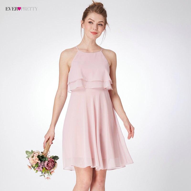 New Arrival Elegant   Bridesmaid     Dresses   Ever Pretty EP04051 Spaghetti Straps Ruffles A-Line Short   Bridesmaid   Beach   Dresses   2018