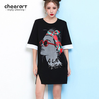 Cheerart Black Cotton Sequin Print Summer Long T Shirt Women Plus Size Loose White Casual Split