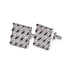 Hot Sale New Fashion French Cufflink Men Shirts Square Black Stone Shine Crystal Wholesale For Father Husband Xmas Gift