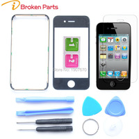 Brand New 4S Black Front Glass Lens Back Cover Case Middle Frame Bezel For IPhone 4S
