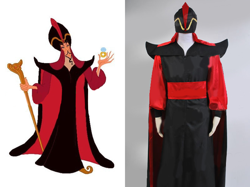 Halloween Aladdin Costume Aladdin The Return of Jafar Hat Wizard Villain Cosplay Costume Robe Cloak Cape Outfit