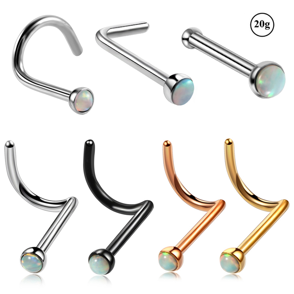 Bling Piercing 2pc 20g Stainless Steel L Shaped Nose Ring Cool