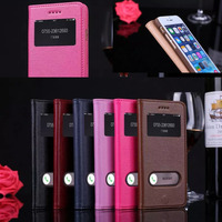Caso Coque for iPhone 6 Plus 5.5 inch Deluxe Genuine Leather Case Smart View Window for Apple iphone 6 Flip Etui Fundas