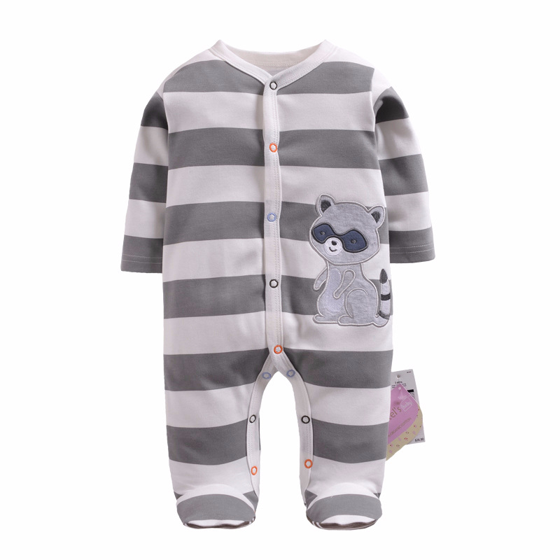 2018 baby pajamas boys jumpsuit newborn coverall romper cartoon raccoon infants bebe jumpsuit baby girls clothes monkey