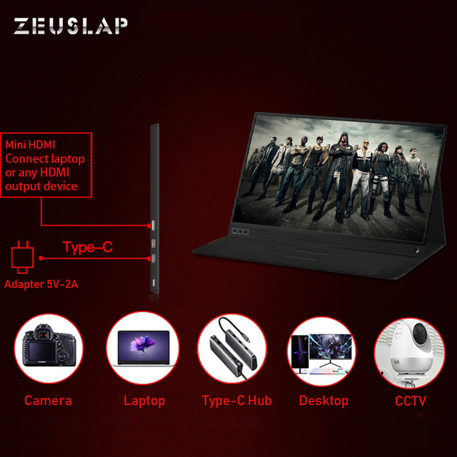Zeusap fino portátil lcd hd monitor 15.6 usb tipo c hdmi para computador portátil, telefone, xbox, interruptor e ps4 portátil monitor de jogos lcd 4