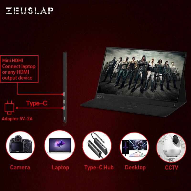 Zeusap fino portátil lcd hd monitor 15.6 usb tipo c hdmi para computador portátil, telefone, xbox, interruptor e ps4 portátil monitor de jogos lcd - 4