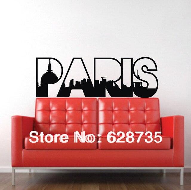 Оптовая продажа бесплатная доставка наклейки париж, Декоративные париж ретро слово цитата стены украшения стикера, C2003
