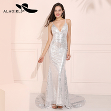 Alagirls Sexy V Neck Evening gowns 2019 Spaghetti Straps Dress Mermaid Prom dresses vestido de noche Sequined
