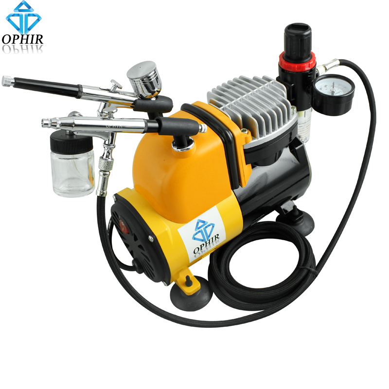 OPHIR Gravity Dual-Action Airbrush Kit withTank Air Compressor for Temporary Tattoo Tanning Makeup Nail Art_AC053+AC004+AC074 ophir temporary tattoo tool dual action airbrush kit with air tank compressor for model hobby cake paint nail art ac090 ac004
