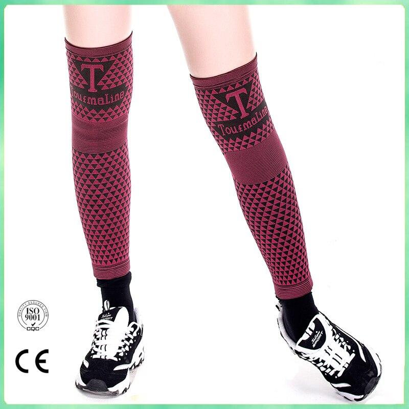 цена на 1 pair 2 pieces tourmaline health Knee Support Brace Leg Arthritis Injury Gym Sleeve Elasticated Bandage Pad Charcoal Knitted