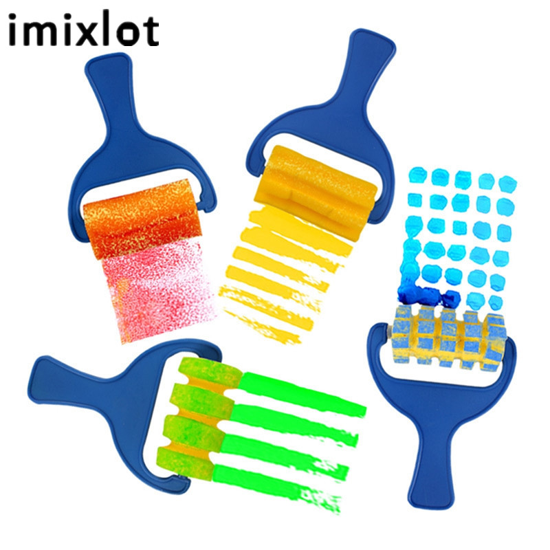 Imixlot 4 Pcs/Pack Students Graffiti Tools Sponge Roller Draw Kid Gift Toy Children School Art Award Supplies
