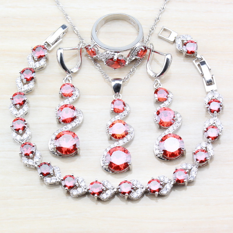 Bridal Jewelry Sets Shock-Resistant And Antimagnetic Wedding & Engagement Jewelry Obliging Bridal Wedding Garnet 925 Sterling Silver Elegant Women 4pcs Jewelry Sets Long Earrings/necklace/bracelet And Ring Costume Sets Waterproof
