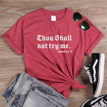 ONSEME Women Summer Casual Loose T Shirts Thou Shall Not Trp Me Letter Print Shirt Female Funny Slogan Tees Basic Cotton Tops