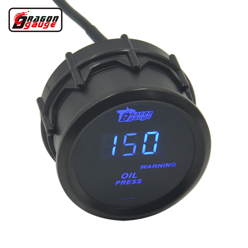 Dragon gauge Universal 52MM Blue LED Digital Oil Pressure Gauge Car Racing modified Gauge With Sensor 0-150 PSI free shipping 2014 new 1pcs auto car oil pressure led gauge 2 52mm free shipping a