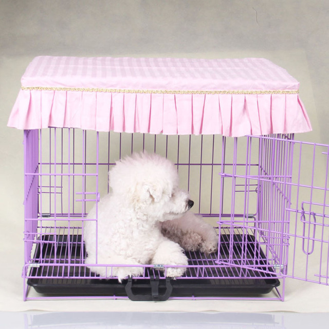 Cute Ruffles Pet Dog Crates Cover Fashion Dustproof Puppy Cage Cover Without Cage S-XL