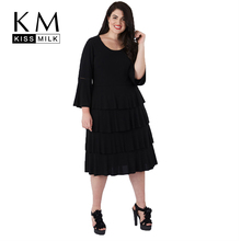 Kissmilk Plus Size Women Bud Dress Wrist Flare Sleeve Knee Length Empire 2018 Autumn New Arrival For Female from 4XL to 7XL