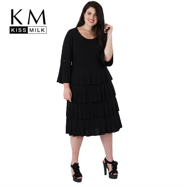 2f95a2a9cc US $46.7 |Kissmilk Plus Size Women Bud Dress Wrist Flare Sleeve Knee Length  Empire 2018 Autumn New Arrival For Female from 4XL to 7XL, -in Dresses ...
