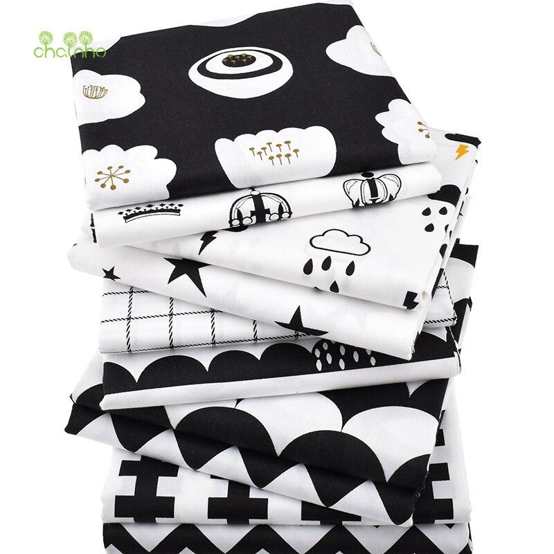 Chainho Tecido de Sarja de Algodão, Patchwork Preto de Tecido, Pano de DIY Material de Costura Quilting Trimestres de Gordura Para Baby & Children, 10 pçs/lote,